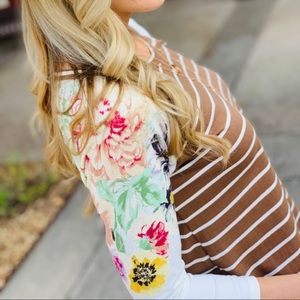 NO SUCH THING STRIPED TOP-TAUPE